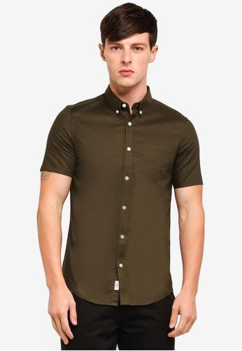 Burton Menswear London 綠色 Short Sleeve Khaki Skinny Oxford Shirt 00A27AAA12C8A4GS_1