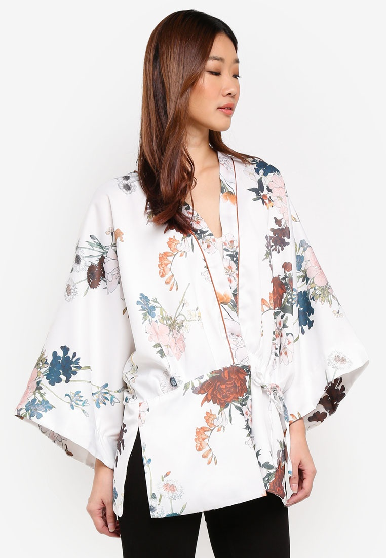 Oversized Clothing White MKY Kimono Flower ASqFnFwB