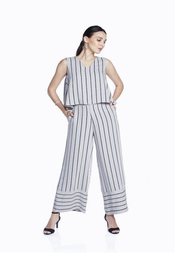 Theory Of Mine blue and brown Mia Vertical Stripe Sleeveless Flare Top 4AAB6AAB937E4FGS_1
