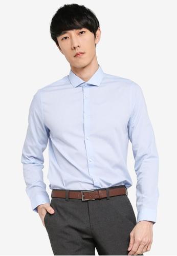 Burton Menswear London blue Blue Skinny Fit Shirt 69BDCAAB2A83BAGS_1