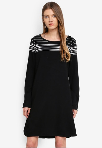 Max Studio black and multi Soft French Terry Stripe Dress 0821BAAC8F8AB1GS_1