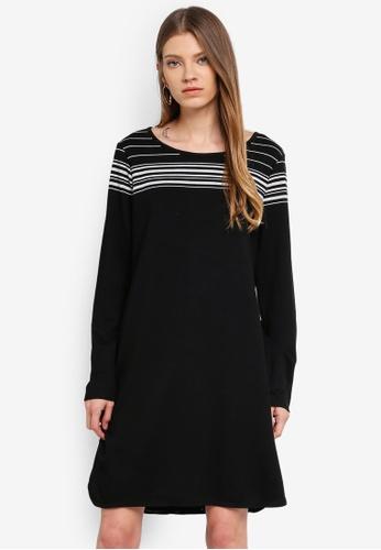 Max Studio black and multi Soft French Terry Stripe Dress 0821BAAC8F8AB1GS_1