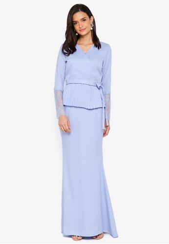 Lubna blue Kimono Wrap Kurung Lace A0658AAAB6A91AGS_1
