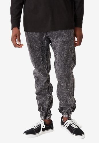 Cotton On 黑色 水洗抽繩縮口褲 66300AA8E3897BGS_1