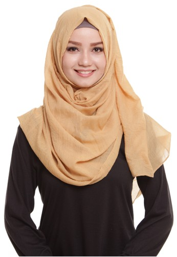 Mybamus Pashmina Texture Plain Anti Licin Soft Brown