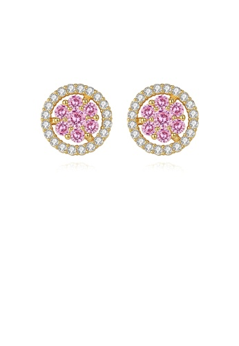 Glamorousky pink 925 Sterling Silver Plated Gold Simple Bright Geometric Round Stud Earrings with Pink Cubic Zirconia CEED5AC4E665F5GS_1