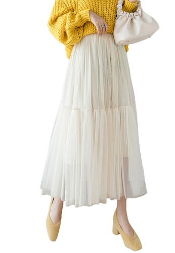 Halo beige Layered Net Yarn Skirt 52949AAD6614C7GS_1