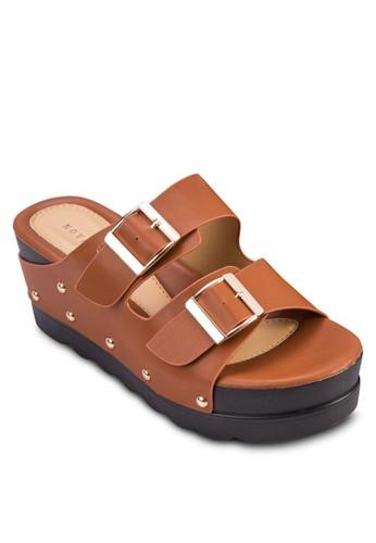 鉚釘扣環寬帶楔形鞋, 女鞋, 楔形esprit 旺角涼鞋