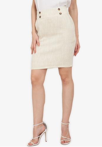 ZALORA WORK multi Button Detail Tweed Skirt FAECBAA8FBD9F6GS_1