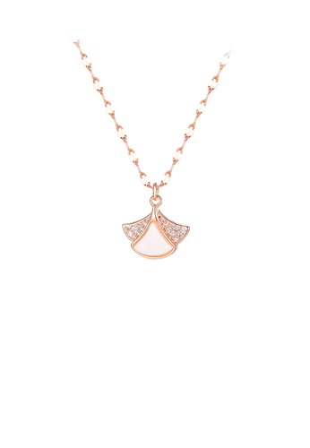 Glamorousky white Simple and Fashion Plated Rose Gold Shell Skirt 316L Stainless Steel Pendant with Cubic Zirconia and Necklace 72D12ACC30CE35GS_1