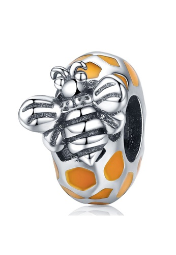 925 Signature 925 SIGNATURE Solid 925 Sterling Silver Black and White Bee Honey Charm 1D6C5AC986546EGS_1