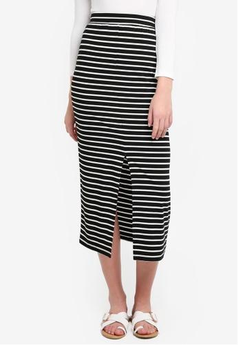 ZALORA BASICS black and white Basic Midi Skirt AE887AA1092D0CGS_1