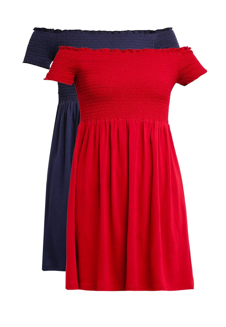 Dress BASICS Smocked Burgundy Navy 2 ZALORA Essential Pack 6qwwA
