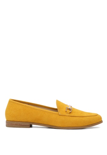 London Rag yellow Solid Colored Faux Suede Loafers 3227FSH01BA742GS_1