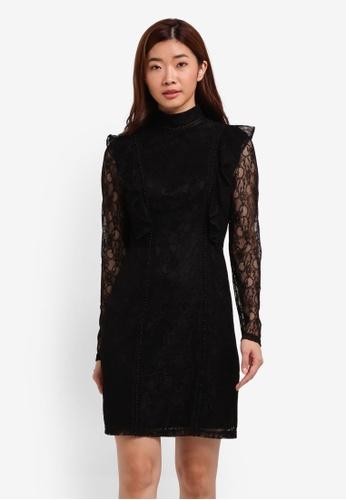 ZALORA black Studio Frilled Lace Dress 0FE42ZZ36E684EGS_1