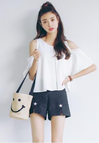 Shopsfashion white Split Shoulder Blouse in White SH656AA15IWYSG_1