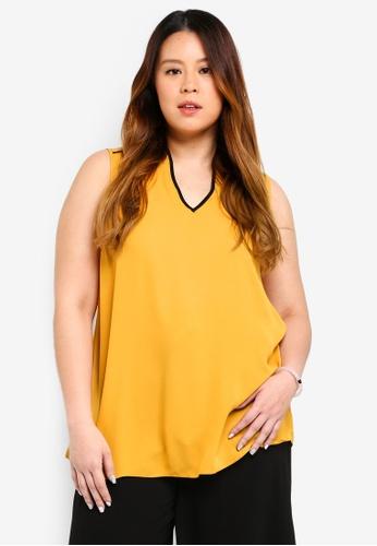 Dorothy Perkins orange Plus Size Ochre Sleeveless Notch Blouse 2A448AA439B89BGS_1