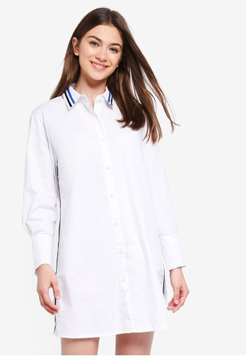 Something Borrowed white Striped Trim Oversized Shirt Dress 80EADAA3A09F65GS_1