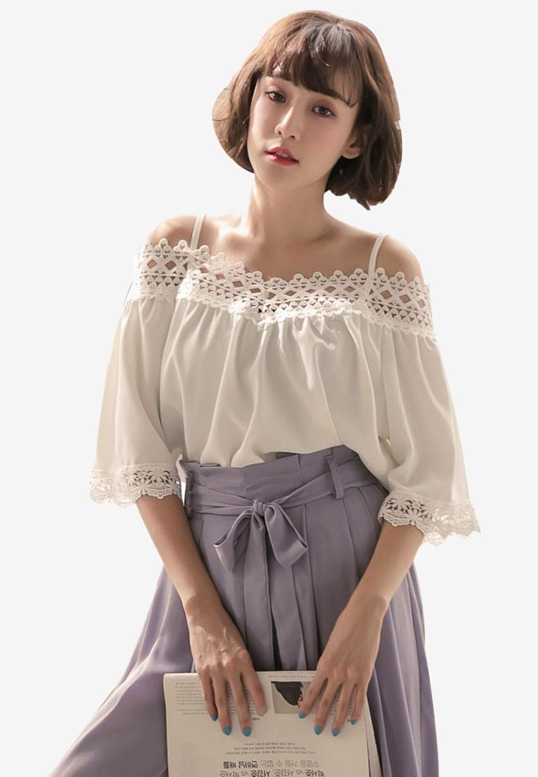 Shoulder Lace Top Tokichoi Neck White Cold qgFCzv