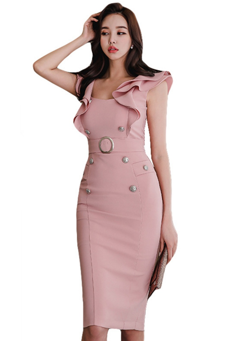 UA061909 One New Dress Ruffle Piece Pink 2018 Pink Sunnydaysweety HwtnxUY7O