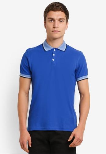 UniqTee blue Slim Fit Twin Tipped Polo Tee UN097AA0RO95MY_1