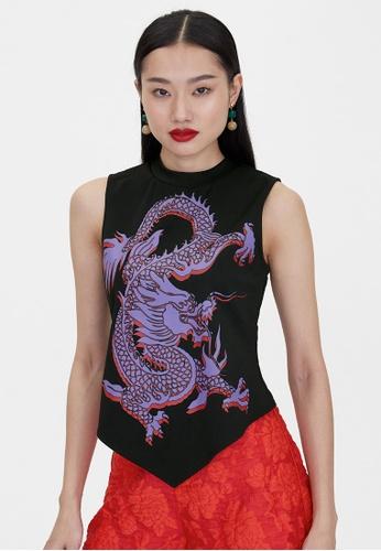 Pomelo black Sleeveless Dragon Print Top - Black EF278AA11ED04DGS_1