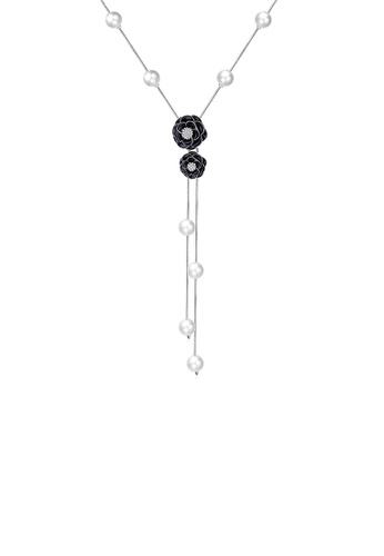 Glamorousky white Elegant Black Rose Necklace with Fashion Pearls and Austrian Element Crystals 1AF5BAC715FAB1GS_1