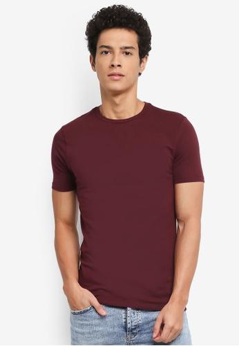 Topman red Burgundy Ultra Muscle T-Shirt 1CF5EAAB25EC5EGS_1