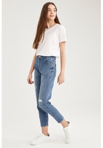DeFacto blue High Waist Ripped Boyfriend Jeans 33E40AAD484B00GS_1