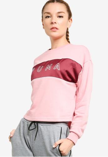PUMA pink Puma Sportstyle Core Style Cat Satin Crew Sweatshirt 38828AA72AE563GS_1