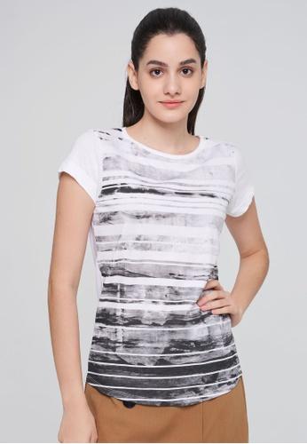 Sisley white Printed T-shirt AD450AA80ACE84GS_1