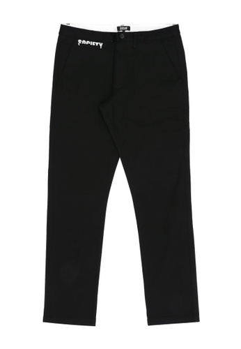 izzue black Letter embroidered pants D1EFCAA387C148GS_1