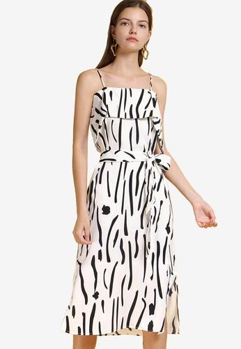 Saturday Club white Strappy Printed Midi Dress 9AC19AACF17375GS_1
