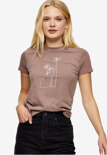 TOPSHOP brown Brown Vase Print T-Shirt EE860AA0AC8D0FGS_1