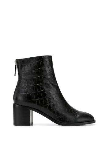 RABEANCO 黑色 RABEANCO CARA 高跟筒靴 - 壓紋黑色 EB929SHB80DD1FGS_1