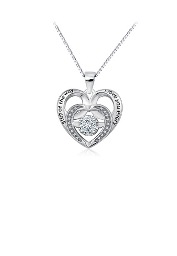 Glamorousky white 925 Sterling Silver Fashion and Elegant Heart Pendant with Cubic Zirconia and Necklace B5C65ACEC18B33GS_1