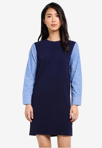 ZALORA navy Shirt Sleeve Shift Dress 6C607AA2379124GS_1