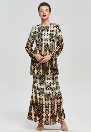 Versatile Beige Tribal Geo Kurung from Era Maya in black and Beige