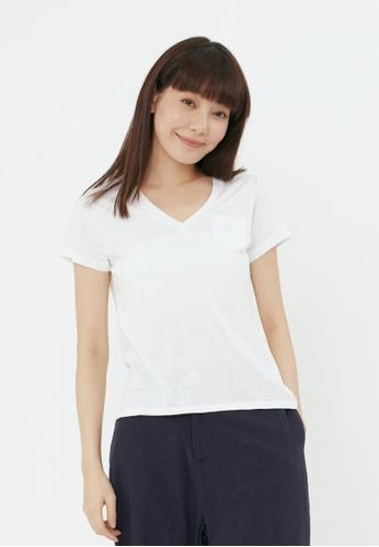 so that's me white Nap Dots Cotton Fabric V-neck Swallowtail T-shirt Top White 5D102AA47964BFGS_1