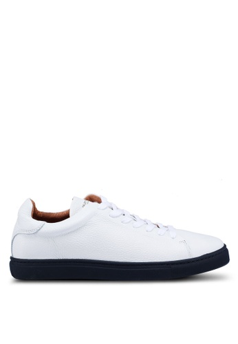 Selected Homme white and navy David Leather Trainers D14F4SH097322FGS_1
