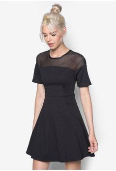 Mesh Pieced Fit And Flare Dress