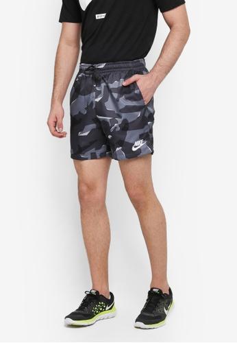 Nike grey and white Men's Nike Sportswear Woven Camo Shorts EBC94AAB5F6C19GS_1