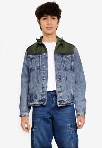 LC Waikiki blue Colour-Block Long Jean Jacket B0FE6AAF769127GS_1