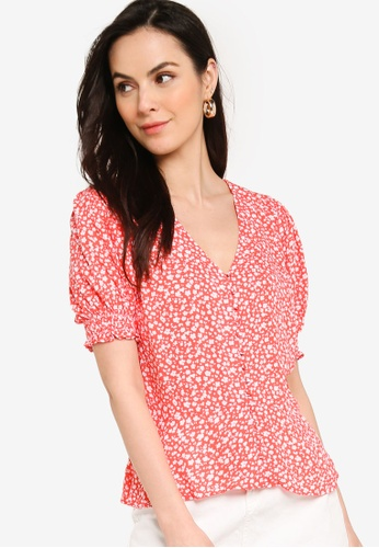 Banana Republic red and multi Covered Button Front Top 1A03AAA620F08CGS_1