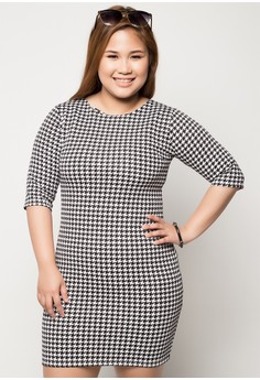 Plus Size Ariana Quarter Sleeve Bodycon Dress
