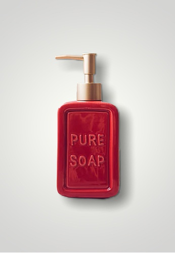 Ayra Home & Living red Red Ceramic Pure Soap Embossed Soap Dispenser 3181FHL8AC1974GS_1
