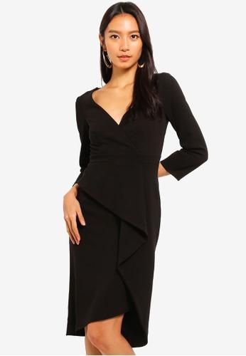 Goddiva black Cross Over Midi Dress With Fold Over Detail 0F71AAAB9A594BGS_1