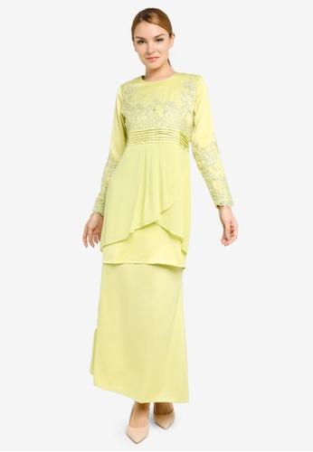 Gene Martino yellow Embroidery and Pleats Kurung Modern EC336AAC3718BAGS_1