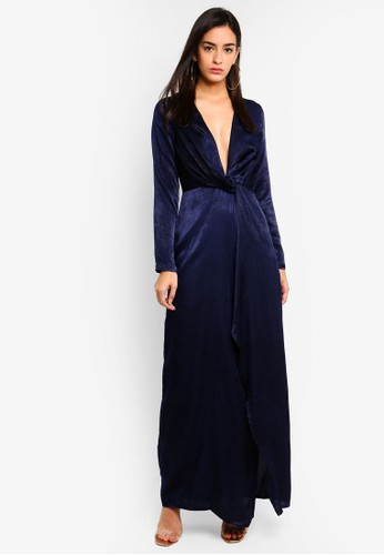 MISSGUIDED navy Wrap Front Maxi Dress E5FE7AAB4163DBGS_1