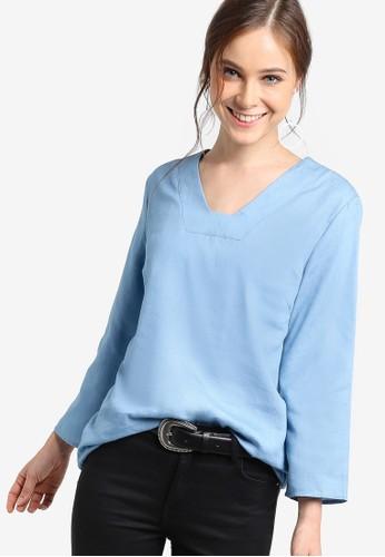 長版針縫方領長袖衫zalora taiwan 時尚購物網鞋子, 服飾, 上衣